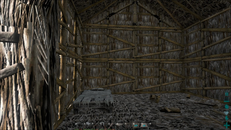 In Ark building things so that you can move around easily is very important. Here, I've placed the bed in the corner where it won't get in my way.