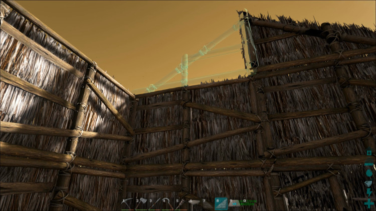 To use the sloped roof in Ark you'll have to start off with Sloped Walls.