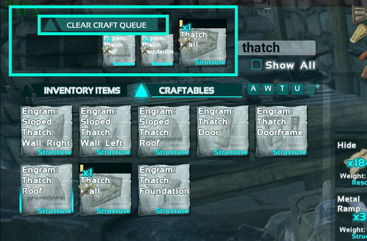 You can put up to 5 different Engrams in the crafting queue in Ark. There is also an option to clear all items from the queue.