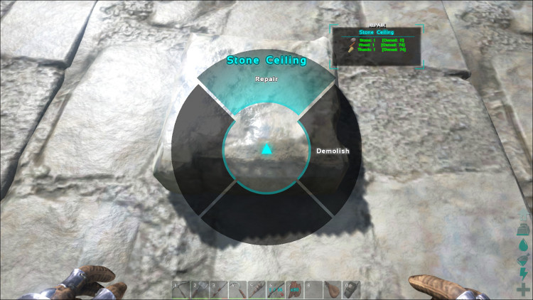 In Ark you can also hold down E to bring up the wheel while looking at a damaged structure. You can then select the repair option and the wheel will be repaired.