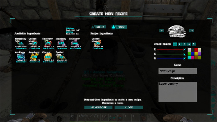 In this image I have loaded some ingredients into the Recipe Creation Screen in Ark.