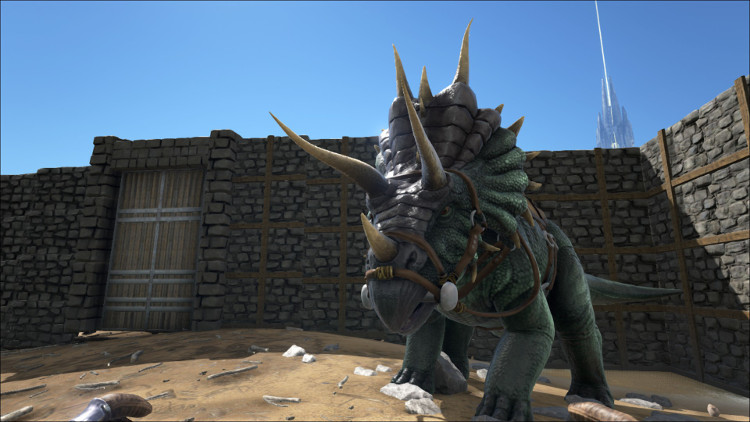 The Triceratops makes harvesting Thatch, berries and seeds an easy matter in Ark.
